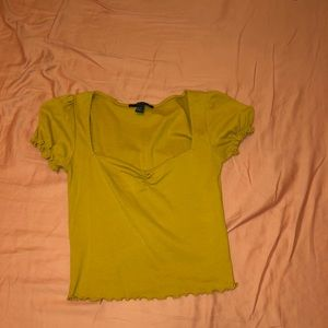 FOREVER21 MUSTARD YELLOW LETTUCE CUT CROP TOP $8